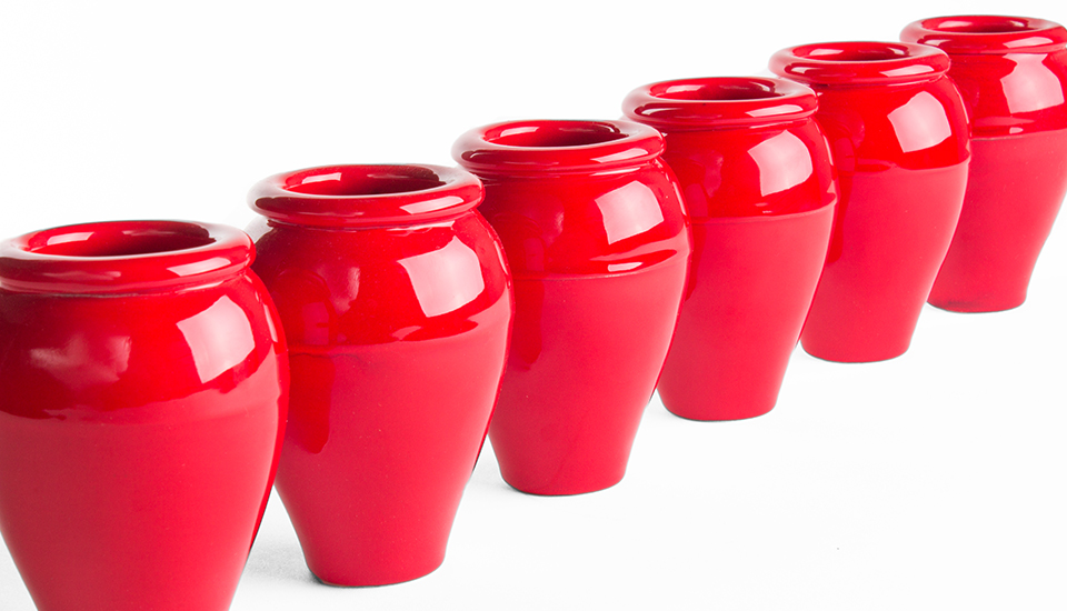 mini oil jars red